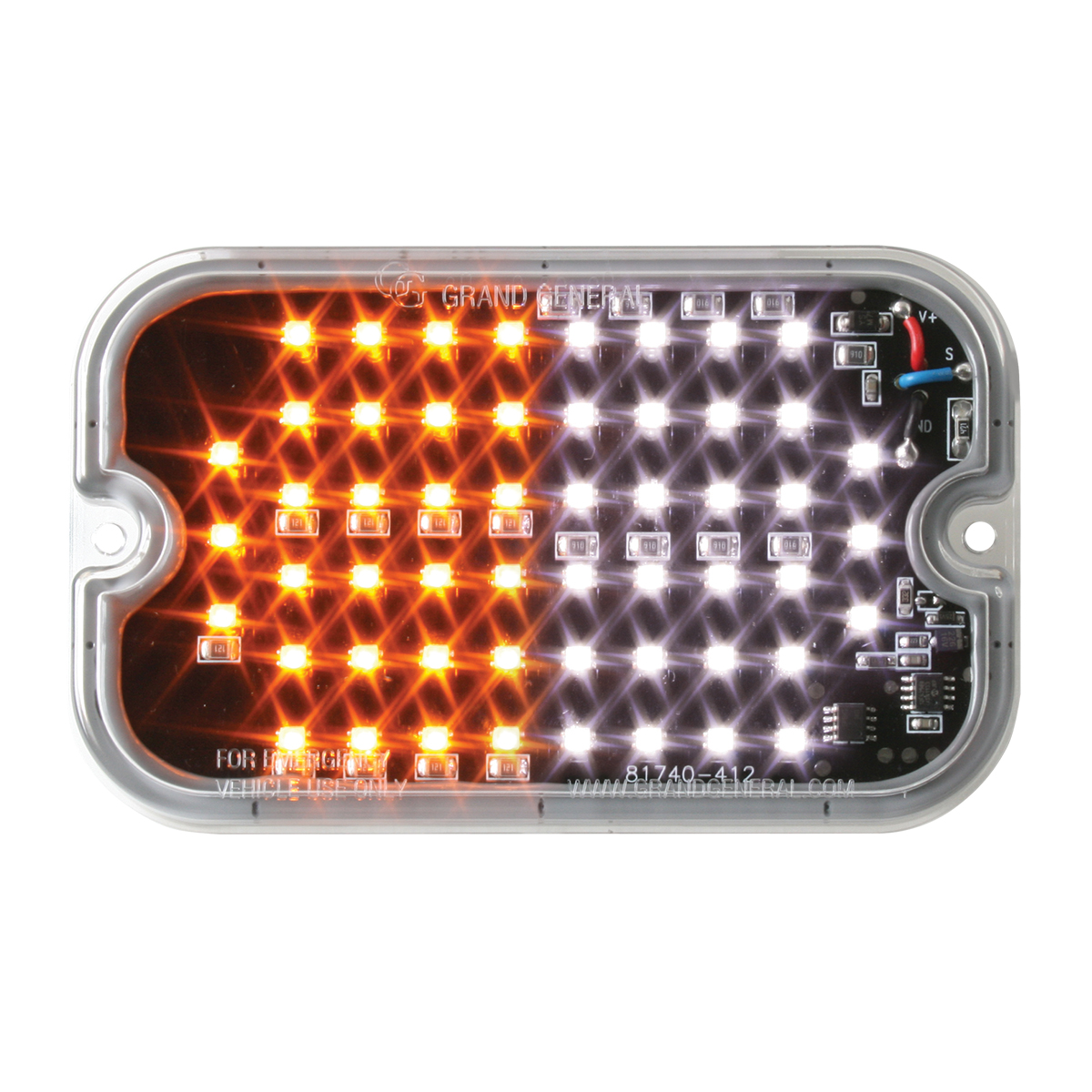 81762 White&Amber/Clear Ultra Thin Large Rectangular Strobe LED Light