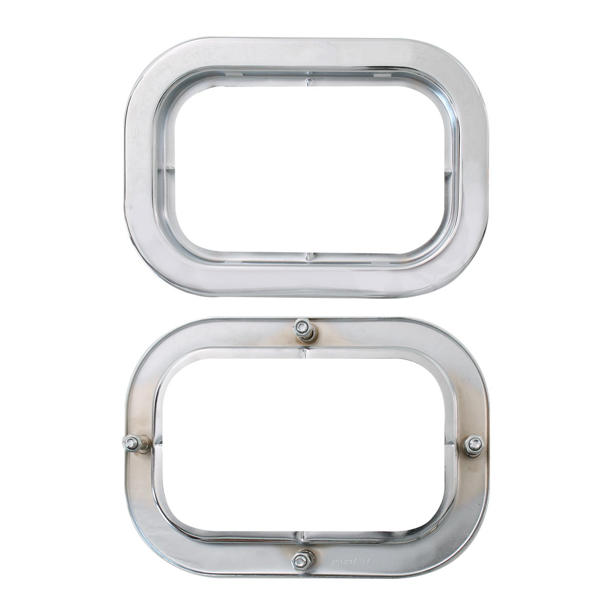 "77019 Front & Back of S.S. Flange Mount Bezel with Hidden Studs for 5.25"" Large Rectangular Light"