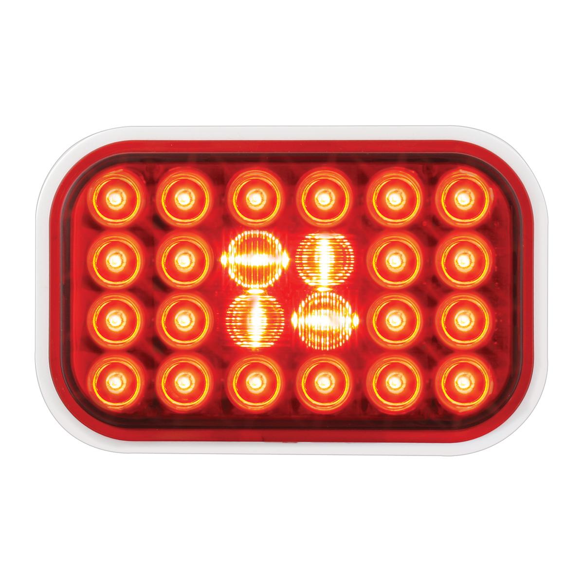 #77182 Rectangular Pearl LED Flat Red/Red Light