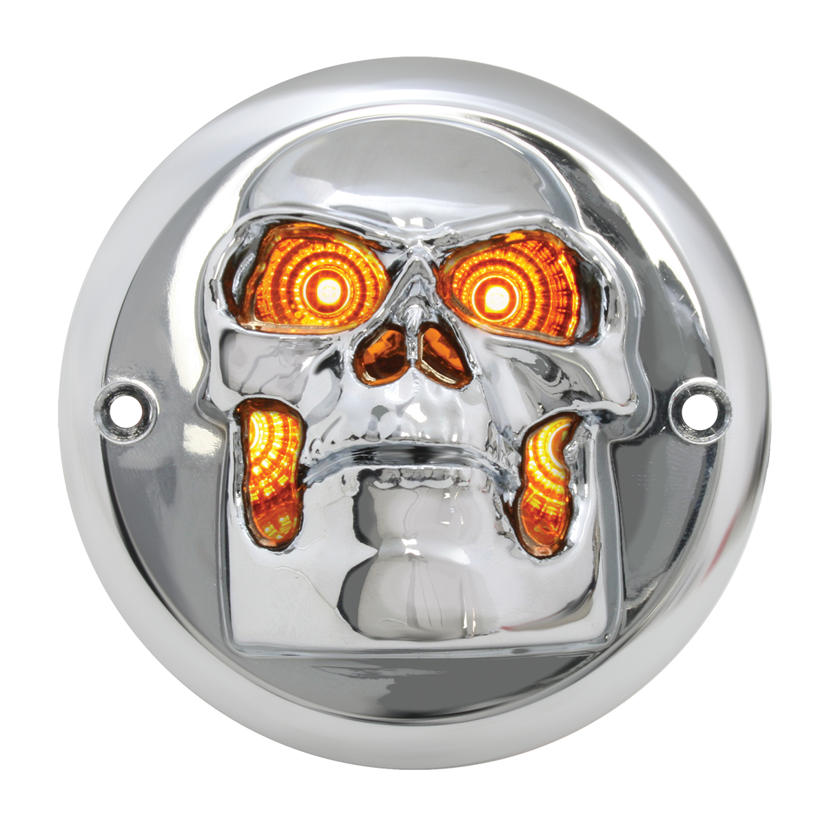 "78489 Chrome Plastic Skull Bezel for 2"" Round Light (Light Not Included)"