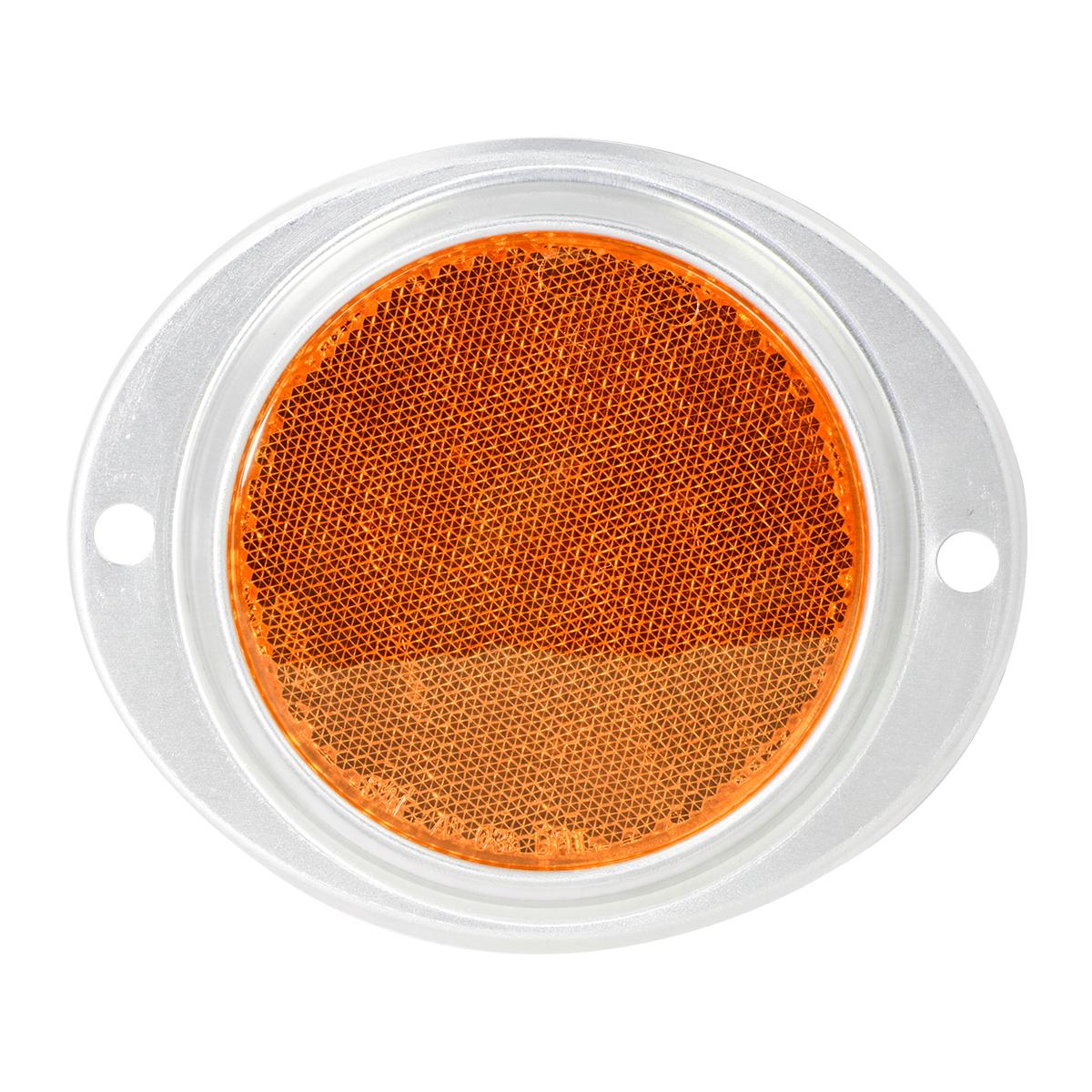"""80815 Amber 3"""" Round Reflector w/ Aluminum 2 Hole Screw Mount Base"""