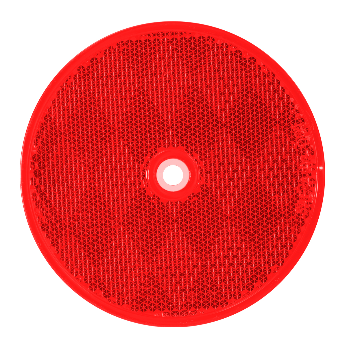 """80824 Red 3-1/4"""" Round Reflector w/ Center Mounting Hole"""
