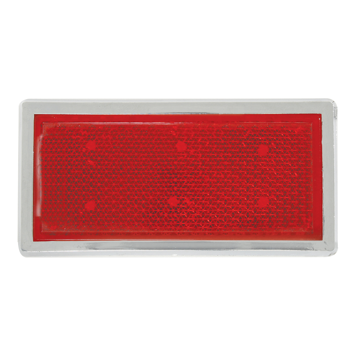 80854 Red Rectangular Stick-On Reflector w/ Chrome Trim