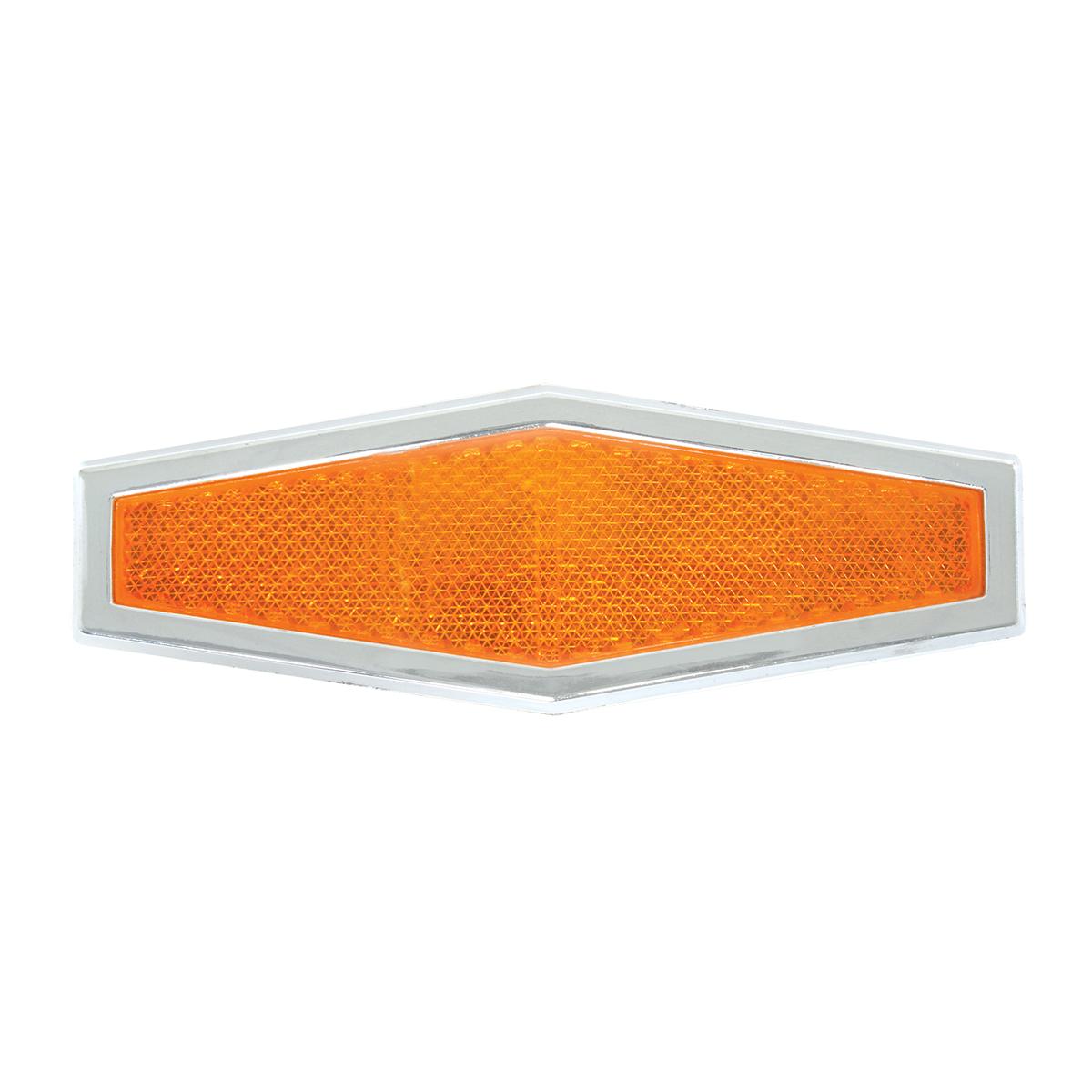 80861 Amber Diamond Shape Stick-On Reflector w/ Chrome Trim