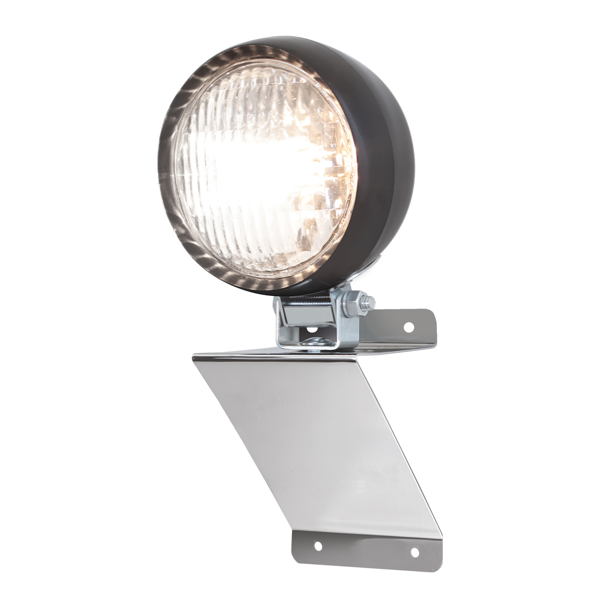 "#81752 Chrome Plated Steel Small ""Z"" Shaped Light Bracket with 4 ½"" Tractor Utility Light"