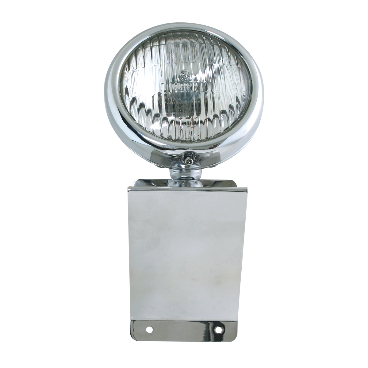 "#81754 Chrome Plated Steel Small ""Z"" Shaped Light Bracket with 5"" Clear Sealed Beam Light"