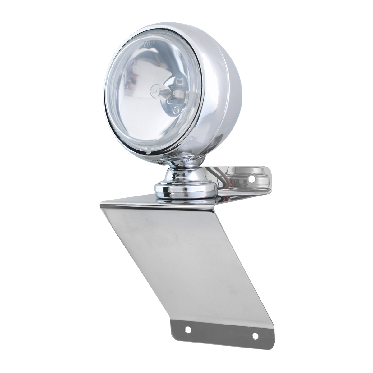 """#81756 Chrome Plated Steel Small """"Z"""" Shaped Light Bracket with 4"""" Clear Off-Road Halogen Light"""
