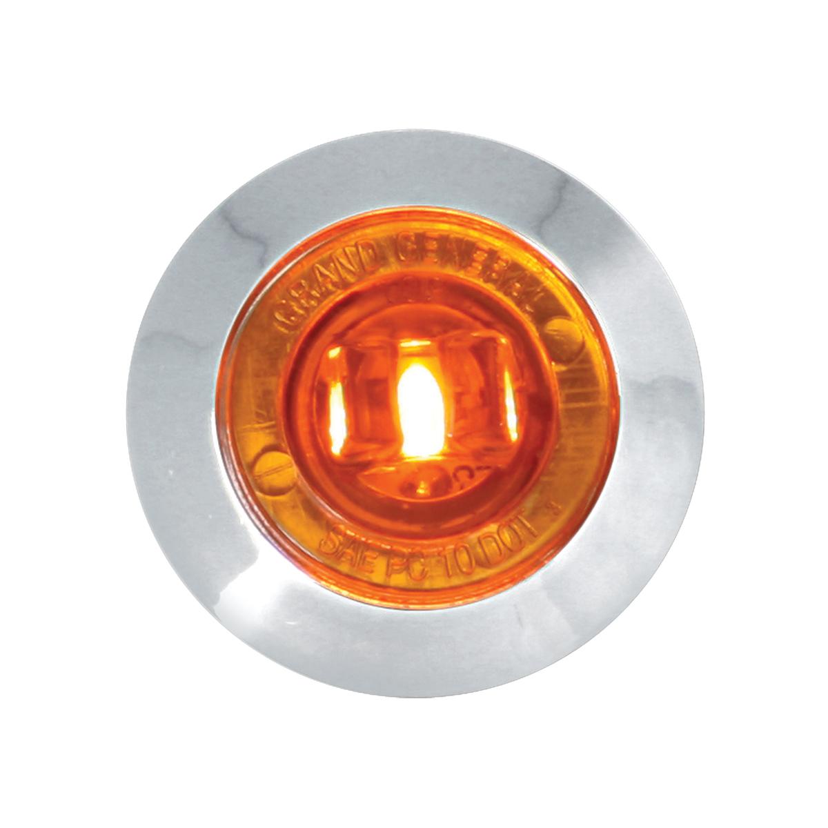 "87060 Amber/Amber 1"" Dia. Mini Push/Screw-in Wide Angle LED Marker Light w/ Chrome Bezel"