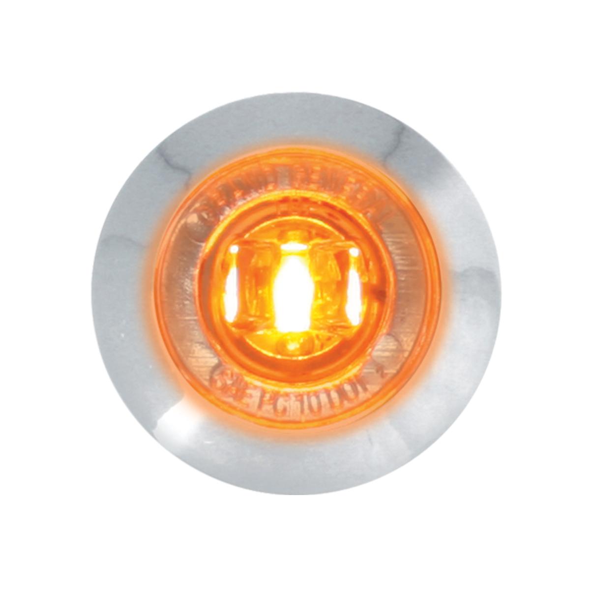 "87061 Amber/Clear 1"" Dia. Mini Push/Screw-in Wide Angle LED Marker Light w/ Chrome Bezel"