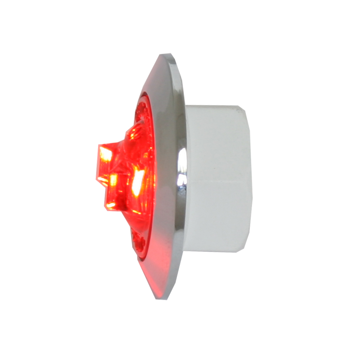"""87062 Red/Red 1"""" Dia. Mini Push/Screw-in Wide Angle LED Marker Light w/ Chrome Bezel"""