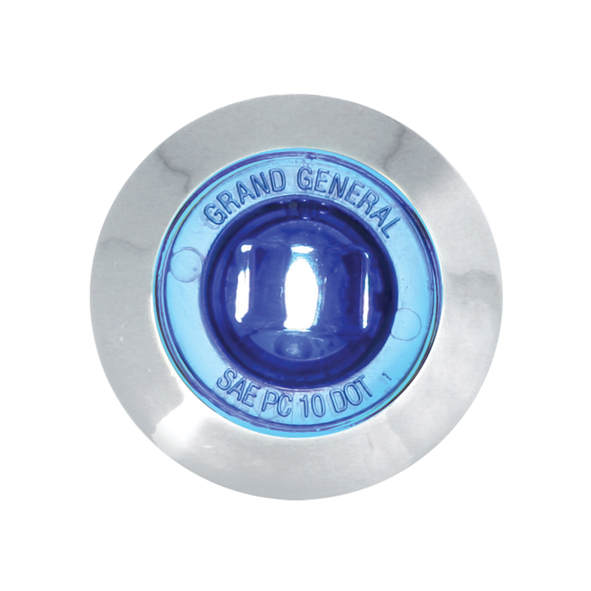 "87065 Blue 1"" Dia. Mini Push/Screw-in Wide Angle LED Marker Light w/ Chrome Bezel"