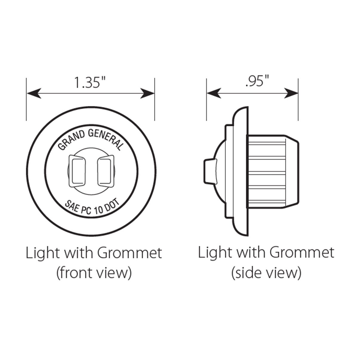 "1"" Dia. Mini Push/Screw-in Wide Angle LED Marker Light w/ Grommet - Diagram"