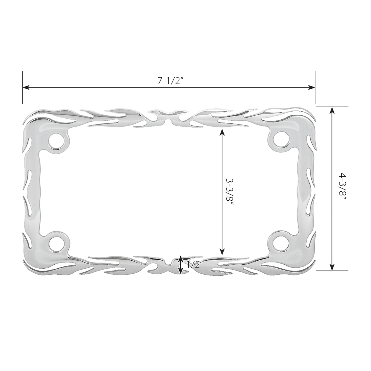 60393 Motorcycle Flame License Plate Frame