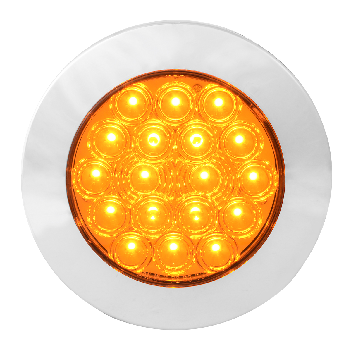 "75900 Amber/Amber 4"" Fleet Flange Mount LED Light with Chrome Twist & Lock Bezel"