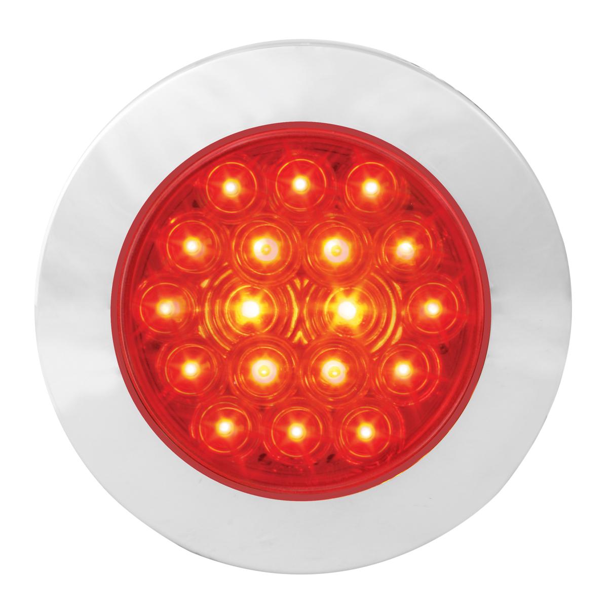 "75902 Red/Red 4"" Fleet Flange Mount LED Light with Chrome Twist & Lock Bezel"