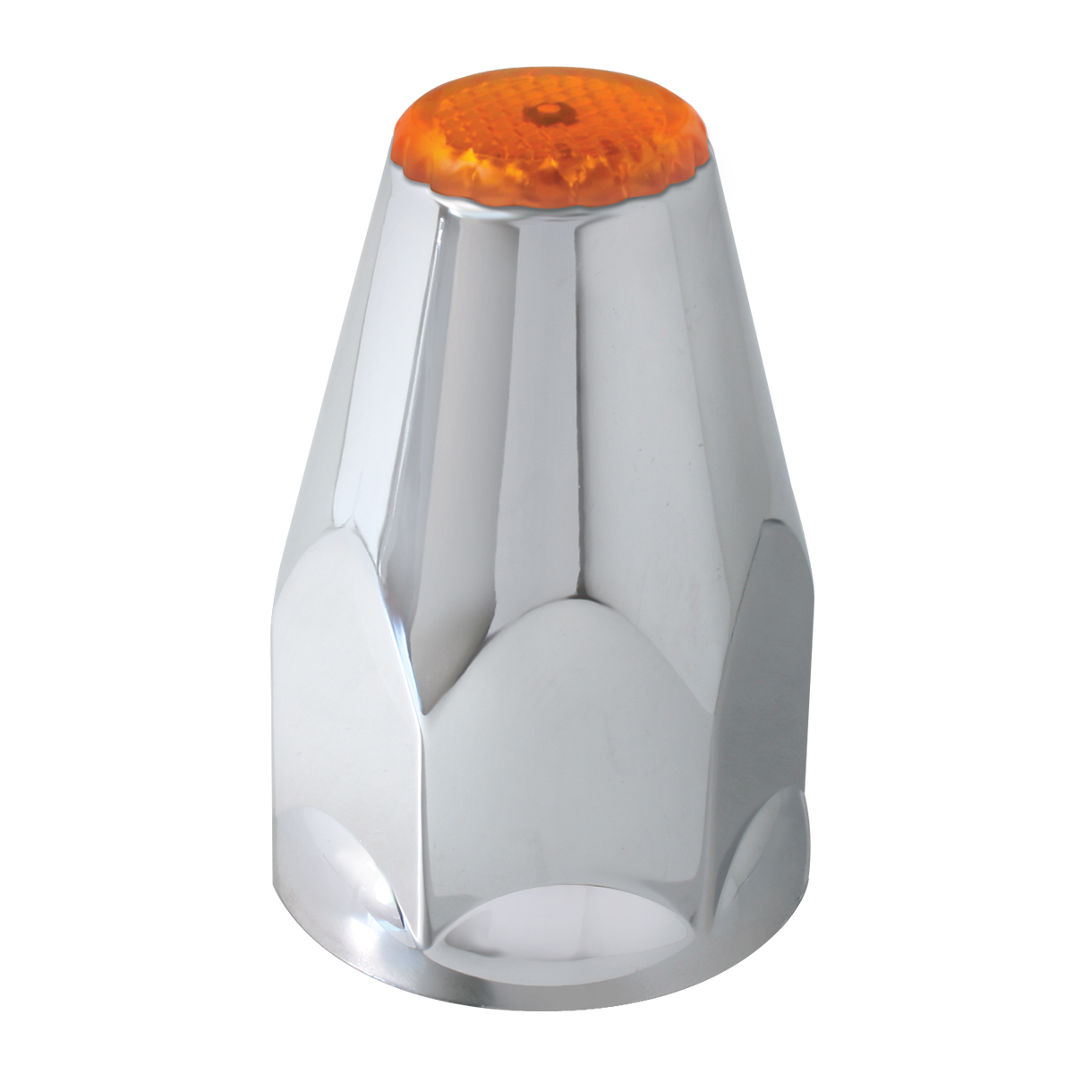 Classic Chrome Plastic 33mm Lug Nut Cover with Amber Reflector