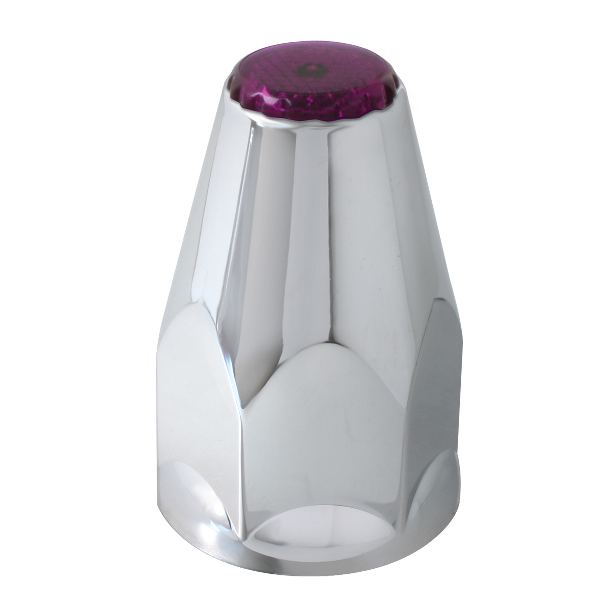 Classic Chrome Plastic 33mm Lug Nut Cover with Purple Reflector