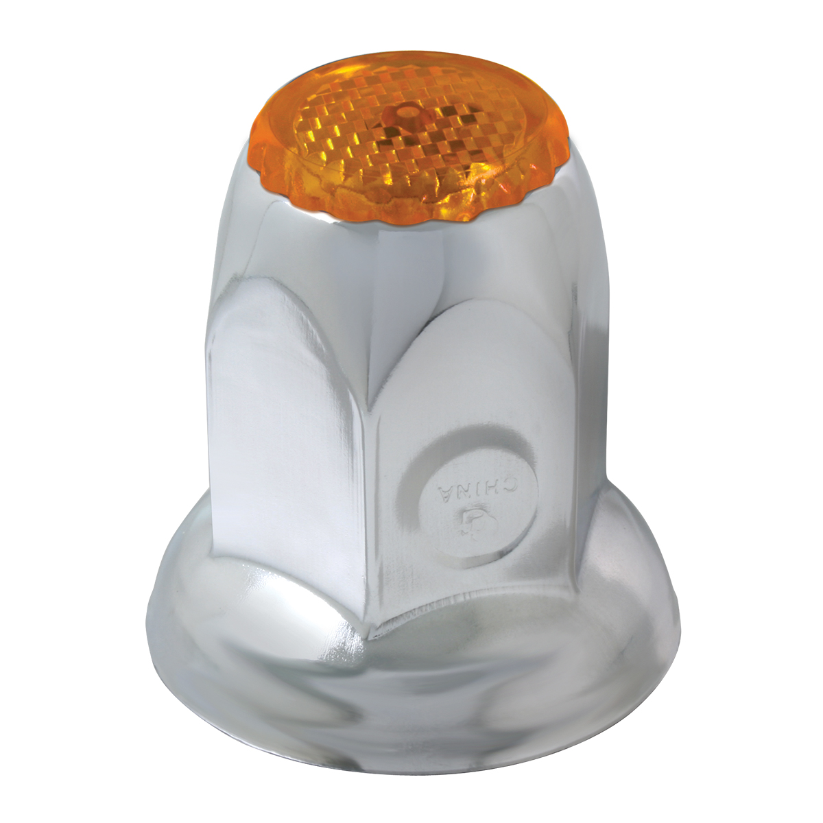 Classic Stainless Steel 33mm Push-On Lug Nut Cover w/ Amber Reflector