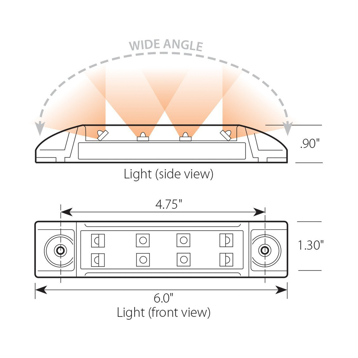 Rectangular Wide Angle Dual Function LED Light