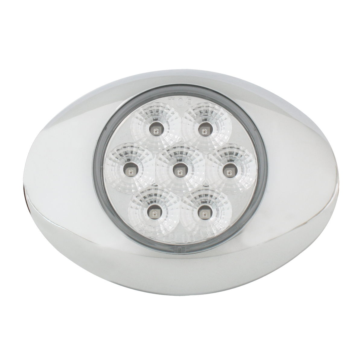 Small Low Profile Surface Mount Spyder LED Marker & Turn Light w/ Chrome Bezel in Clear Lens