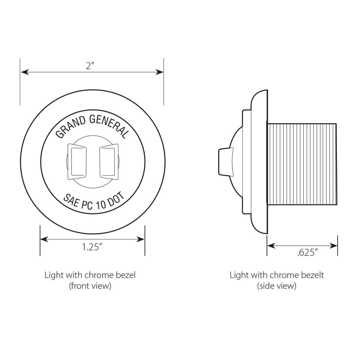 """1-1/4"""" Dia. Dual Function LED Light with Chrome Plastic Bezel and Nut"""