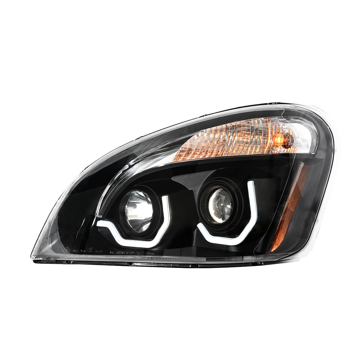 Freightliner Cascadia Matte Black Projector Headlight w/ White LED Running Light