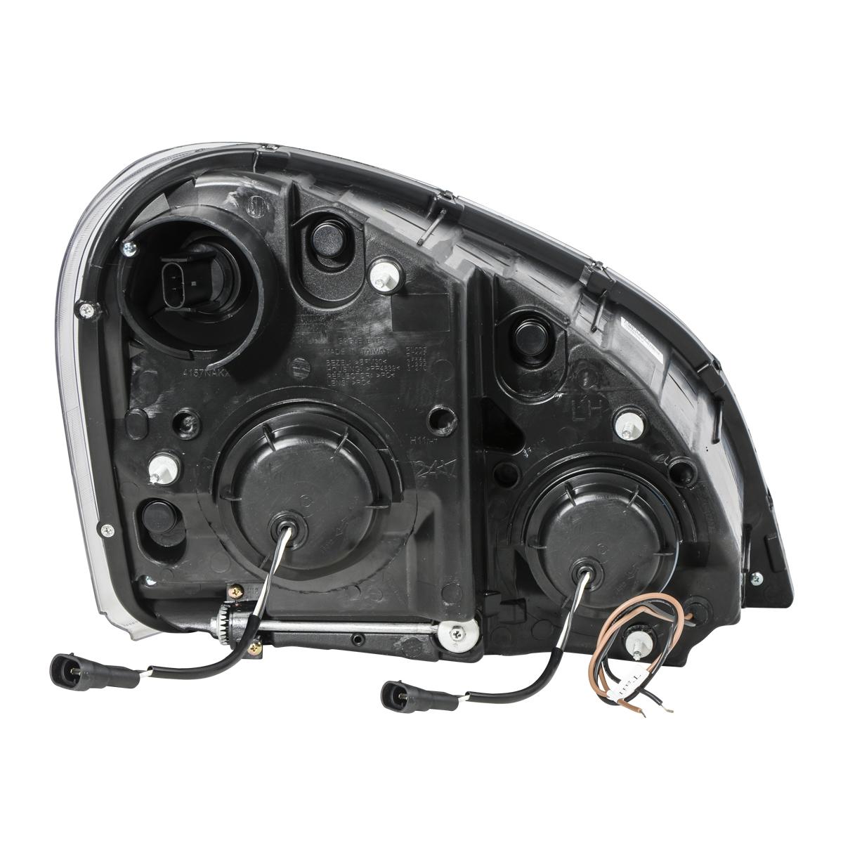 Back View - Freightliner Cascadia Matte Black Projector Headlight w/ White LED Running Light