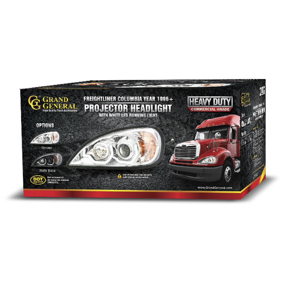 Freightliner Columbia Chrome Projector Headlight W White Led Headlamp Wire Harness For Running Light
