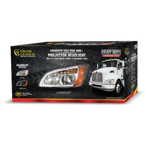 Kenworth T660 Chrome Projection Headlight w/ LED Turn Signal & White LED Running Light for Factory HID Option