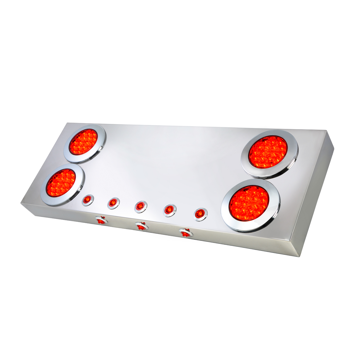 "Stainless Steel Rear Center Light Panel with 4"" & 1"" LEDs and Under Glow Effect"