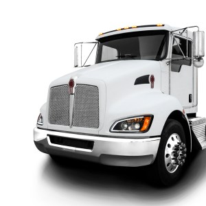 Kenworth T660 Matte Black Projection Headlight w/ LED Turn Signal & White LED Running Light for Factory HID Option