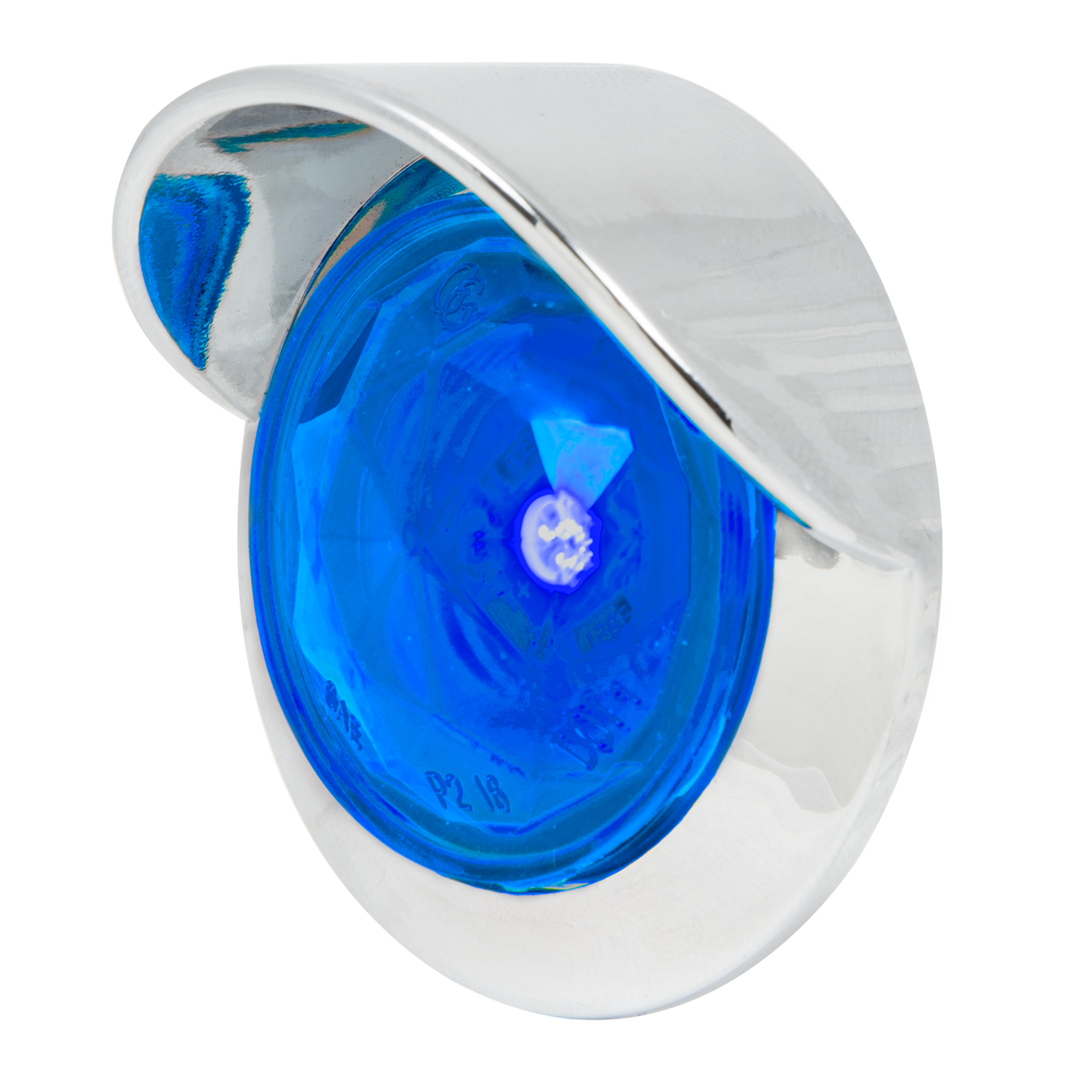 "1"" Dia. Dual Function Diamond Lens LED Light with Chrome Plastic Bezel w/ Visor and Nut"