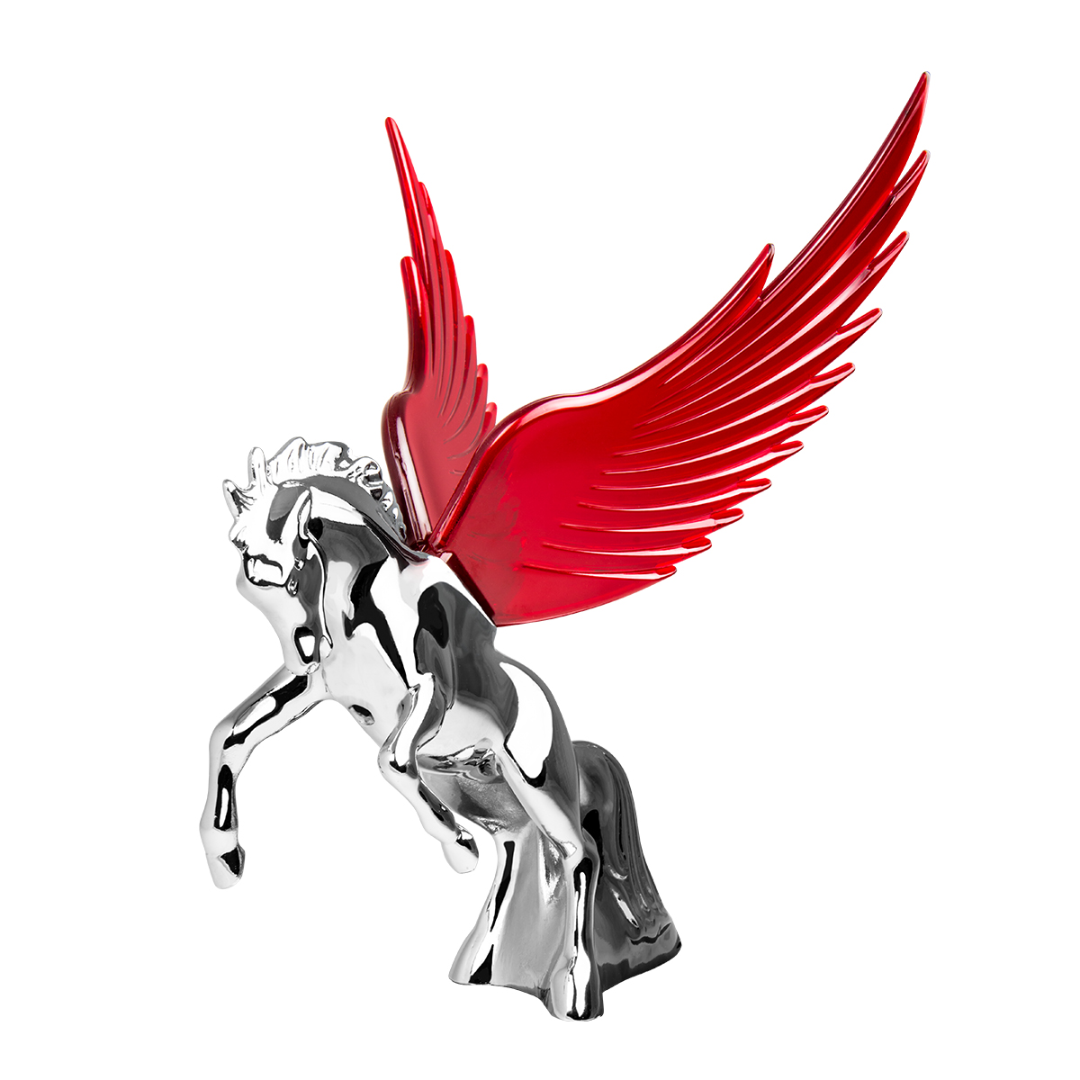 48393 WindRider Chrome Fighting Stallion Hood Ornament