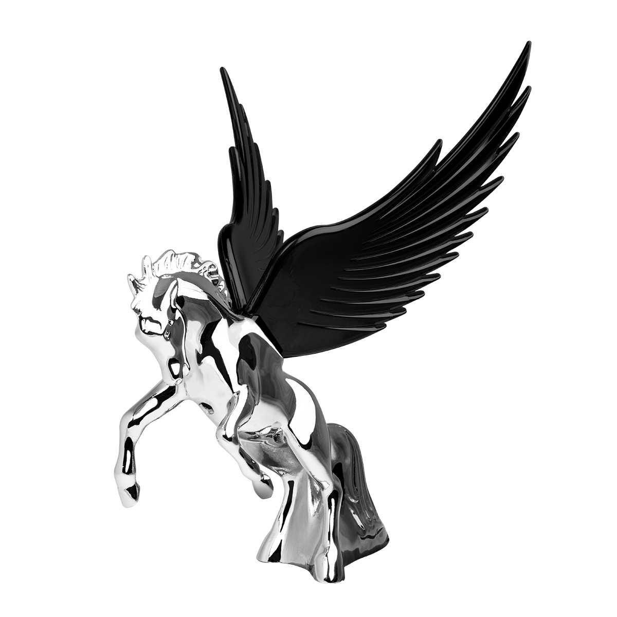 48394 WindRider Chrome Fighting Stallion Hood Ornament