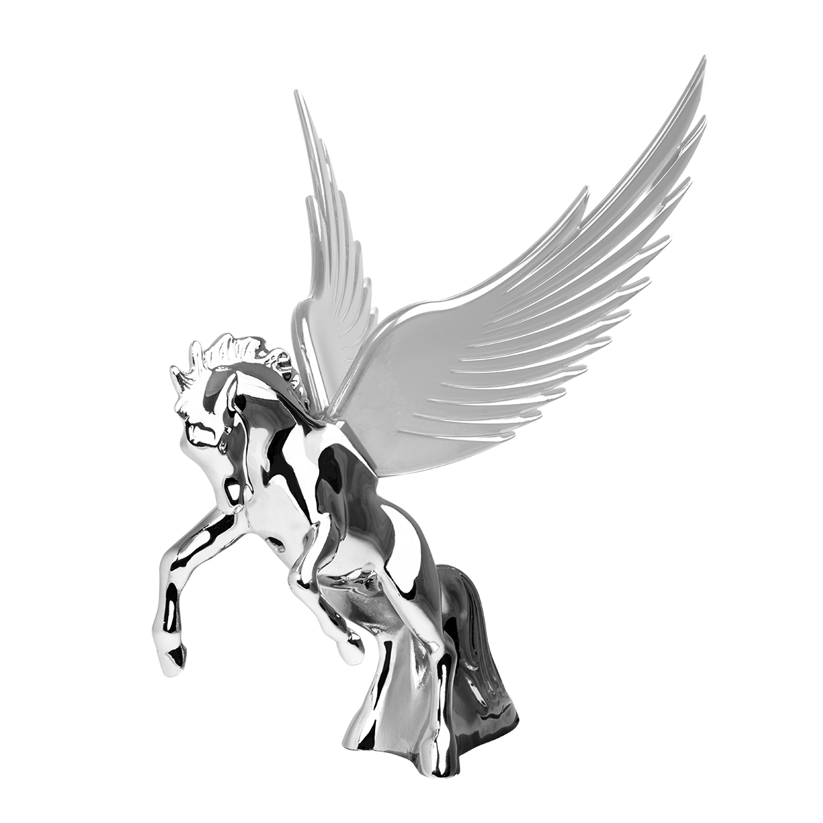 48395 WindRider Chrome Fighting Stallion Hood Ornament