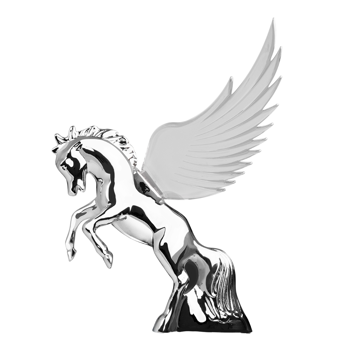 GG Grand General 48395 Clear 6.5 X 7.5 inches Chrome Fighting Stallion Hood ORN w Windriders