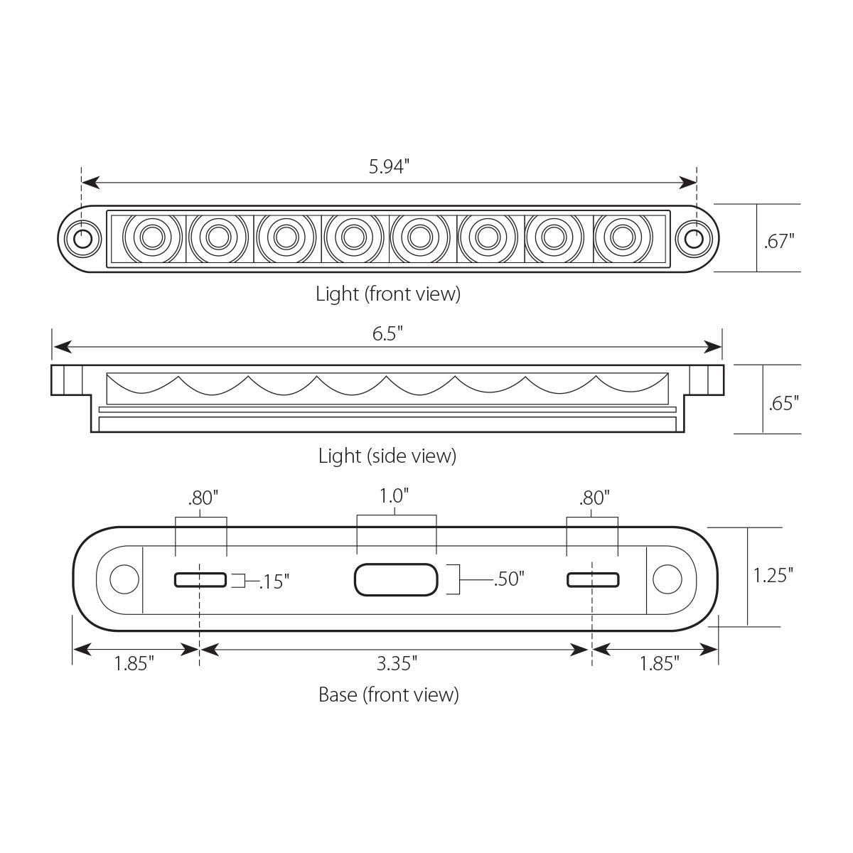 "6.5"" Surface Mount Pearl Marker & Turn LED Light Bar"