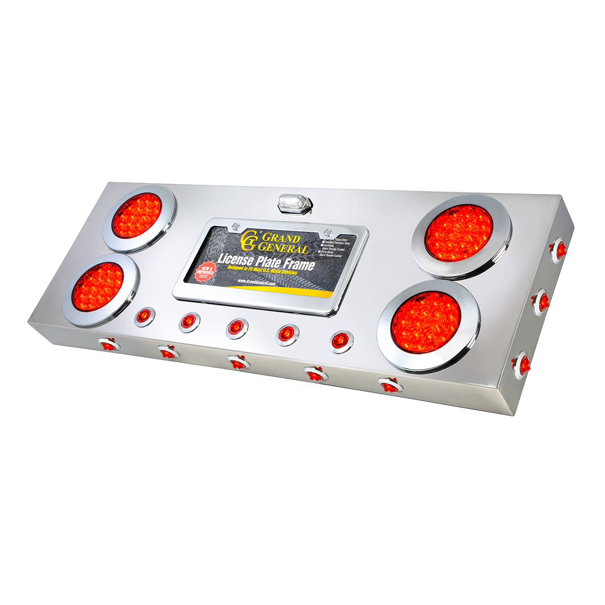 "91302 Stainless Steel Rear Center Light Panel with 4"" & 1"" Dual Function LEDs, License Plate and Under Glow Effect"