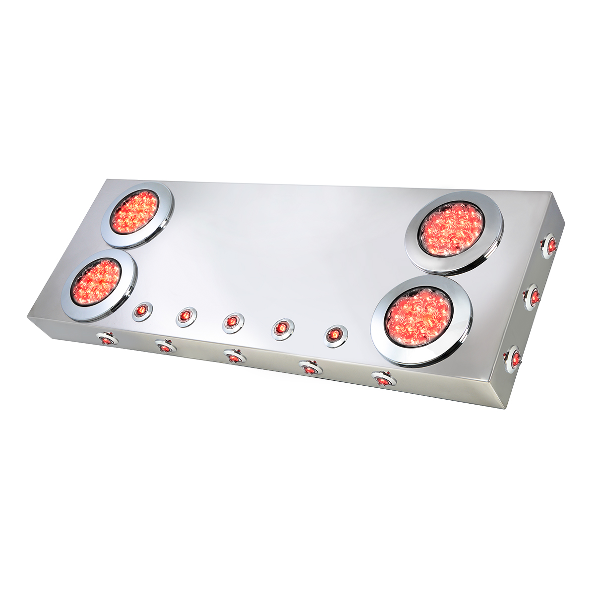 """91313 Stainless Steel Rear Center Light Panel with 4"""" & 1"""" Dual Function LEDs and Under Glow Effect"""