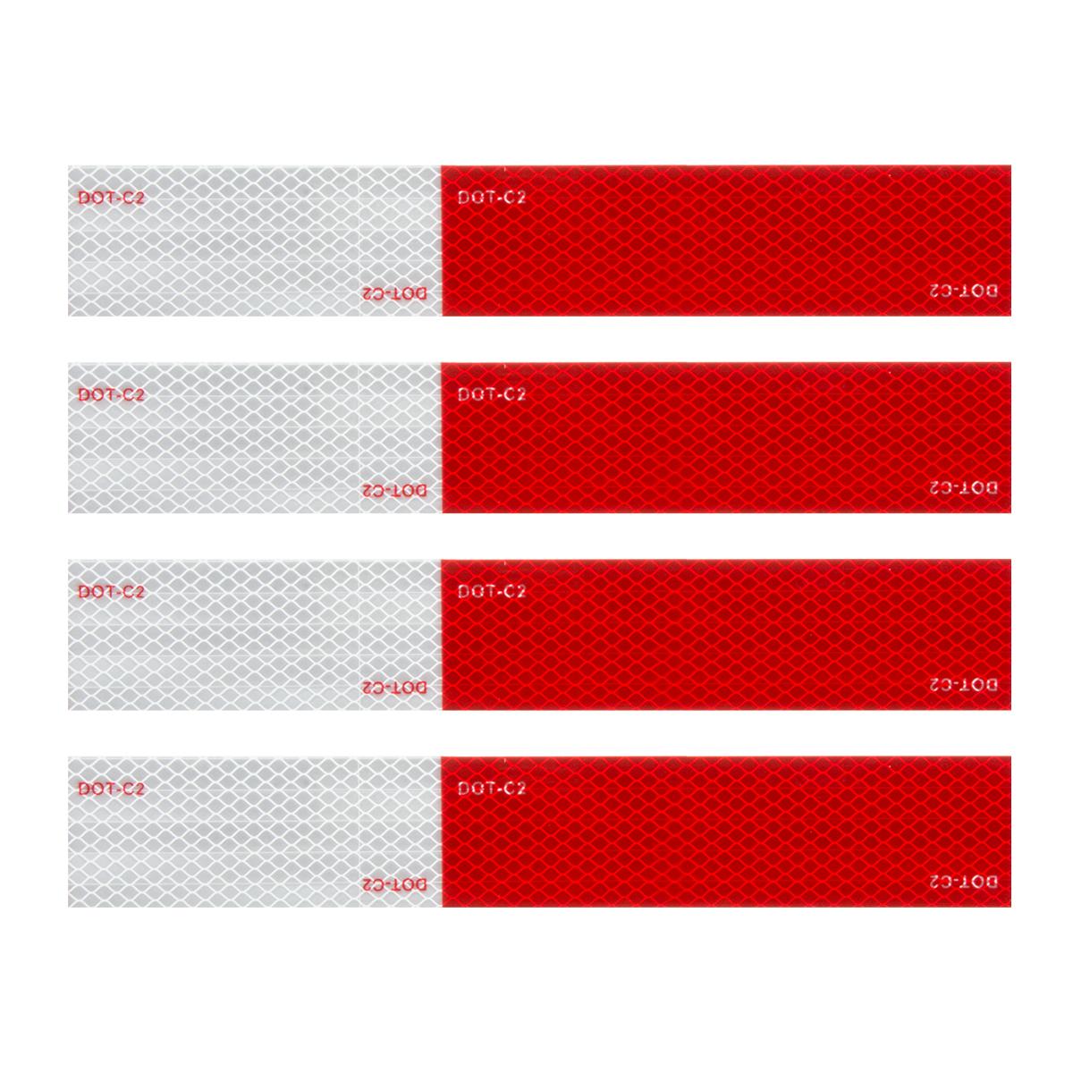 """92293 Premium Hi Viz DOT-C2 Conspicuity Tape in Red & White 18"""" Strips"""