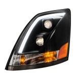 Volvo VN/VNL Matte Black Projector Headlight w/White High Power LED Position/Daytime Running Light