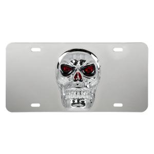 Stainless Steel License Plate with 3D Skull Emblem