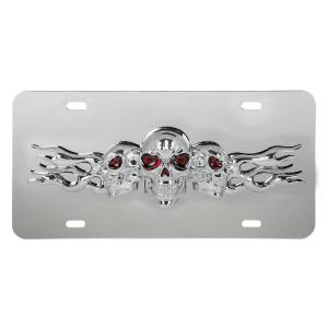 Stainless Steel License Plate with 3D Small Skulls Emblem