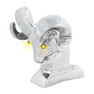 Ram's Head Hood Ornament with LED Eyes