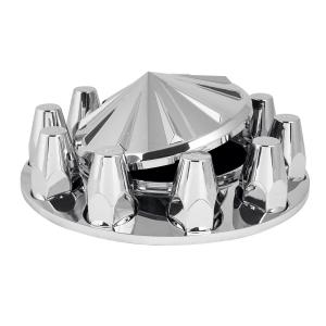 Spoke Top Chrome ABS Front Axle Cover Set with Locking Tabs & Standard Hub Cap