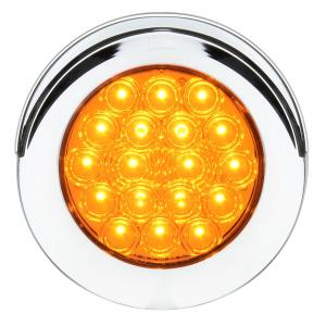 4″ Fleet Flange Mount LED Light with Chrome Twist & Lock Bezel with Visor in 3 Wires