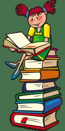 fille assis sur tour de livres
