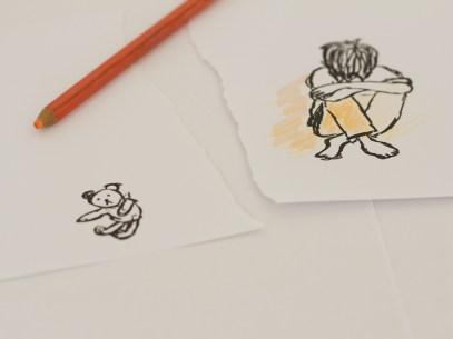 dessin d'un enfant triste