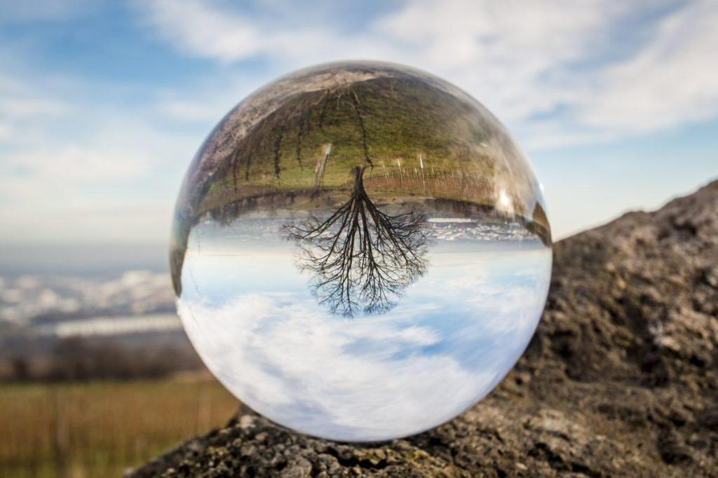 Une image inversée dans une boule de verre