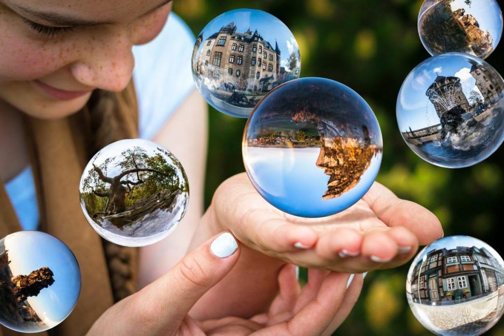 Des boules de cristal en l'air